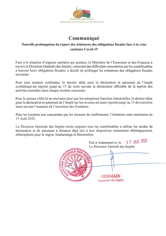 report-echeances-obligations fiscales-madagascar